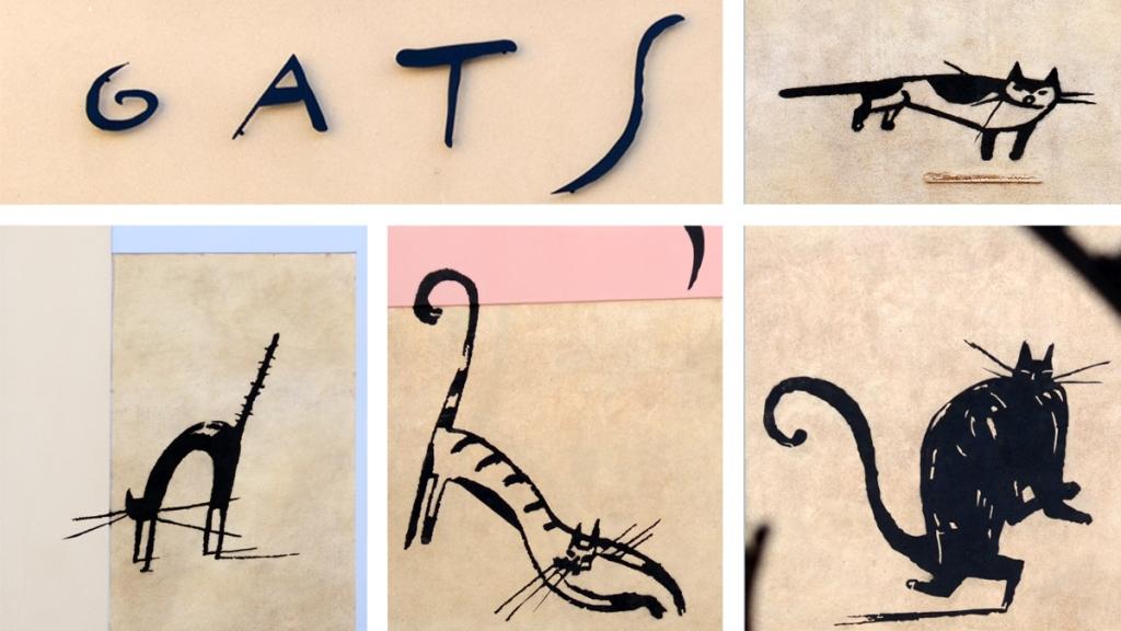 "Mosaic view of Arnal Ballester's ""Gats"" mural in El Raval of Barcelona"
